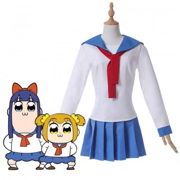 Poputepipikku Pop Team Epic Popuko y Pipimi Blue Uniform Skirt Anime Cosplay Disfraces