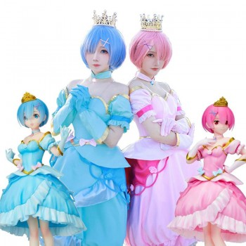Re:ZERO -Starting Life in Another World Rem Ram Princess Dress Cosplay Costume