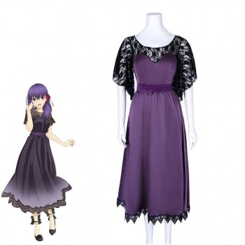 Fate Stay Night Matou Sakura Purple Dress Cosplay Costume