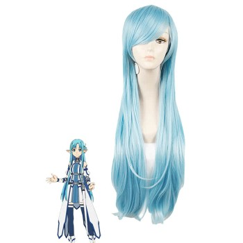 Sword Art Online Yuuki Asuna Straight Blue Anime Cosplay Wigs
