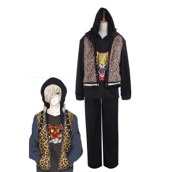 Yuri on Ice Yuri Plisetsky Daily Wear Leopard Print  Sports Suits Cosplay Costumes