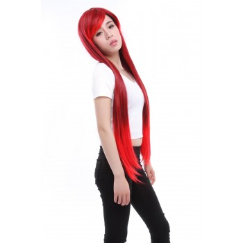 Zipper Long Straight Mixed Red And Black 90cm Cosplay Wig