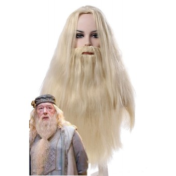 Harry Potter Albus Dumbledore Long Curly Blanco Plata Cosplay Hombre Pelucas