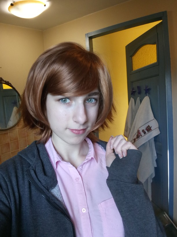 A little bit too shiny and a little bit darker than on photo (I bought this for Chihiro cosplay and It's definitely darker than Chihiro's hair ;v;) but overall is okay, I like that this wig is already styled and I must just cut the bang uwu and It's super